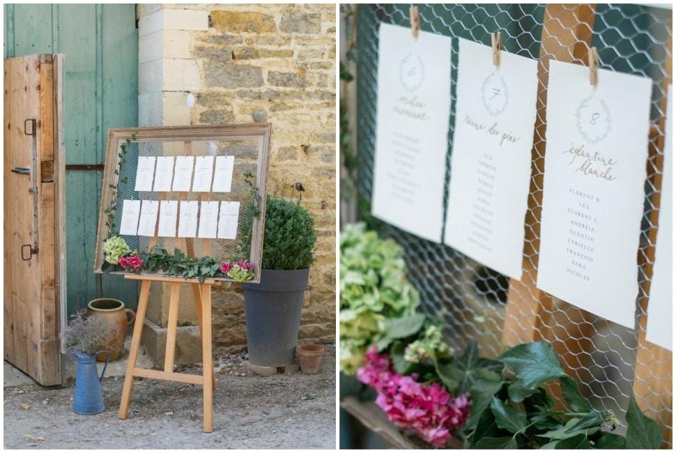 plan de table de mariage aux jardins de barbirey