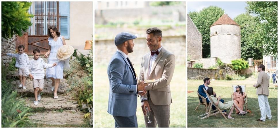 reportage durant le cocktail du mariage aux jardins de barbirey