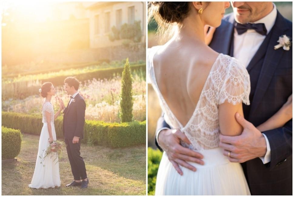 photo de couple de mariage en bourgogne golden hour