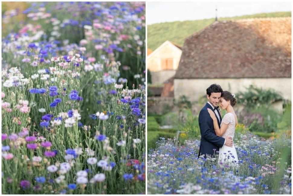 photo de mariage dans les fleurs des jardins de barbirey