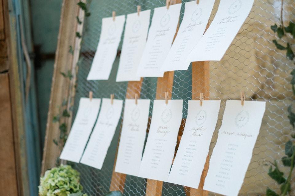 plan de table calligraphié d'un joli mariage en bourgogne