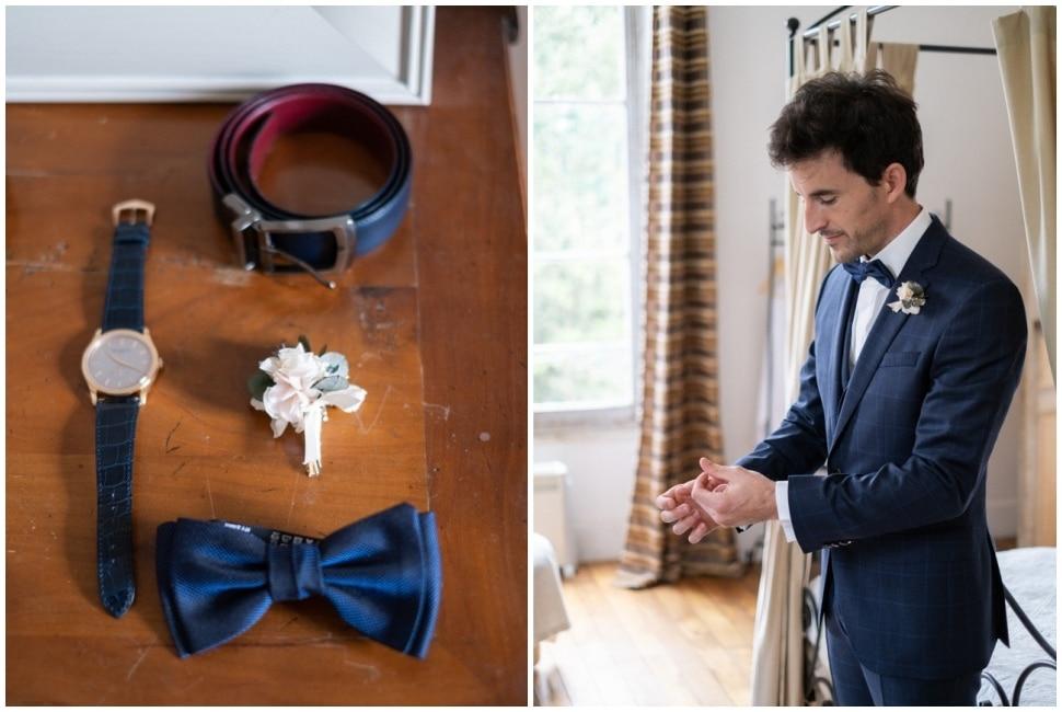 habillage du marié avant la cérémonie de mariage en bourgogne