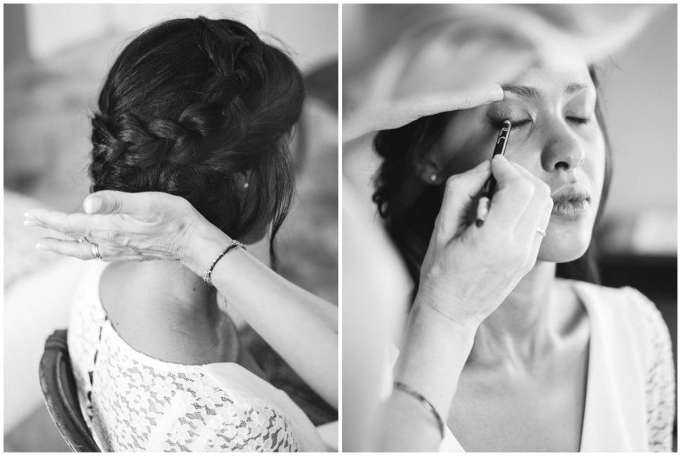 coiffure et maquillage de la mariée en noir et blanc