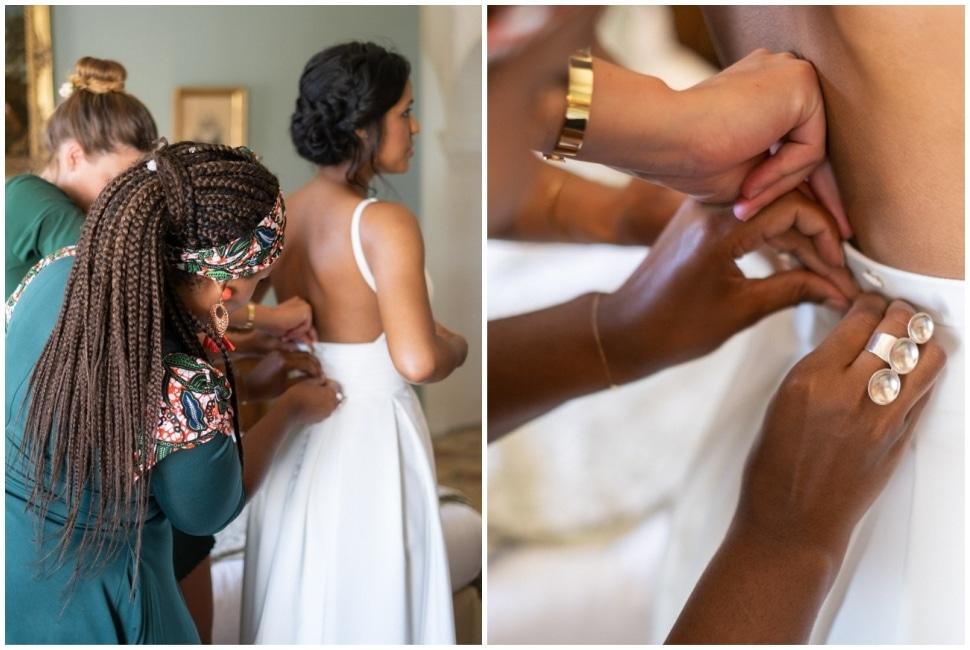habillage de la mariée avec ses témoins