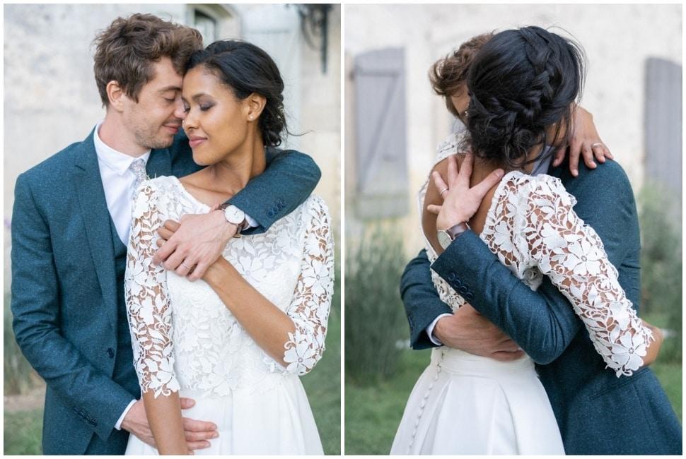 photos de couple pour les mariés en fin de journée à grignan