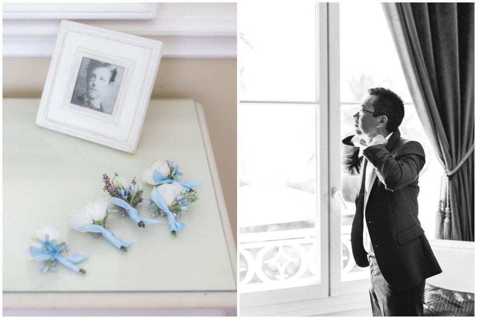 habillage du marié dans sa chambre de la villa mauresque